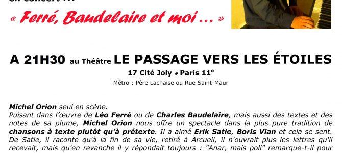 En concert à PARIS, mercredi 26 avril 2017 à 21h30, au Théâtre LE PASSAGE VERS LES ETOILES